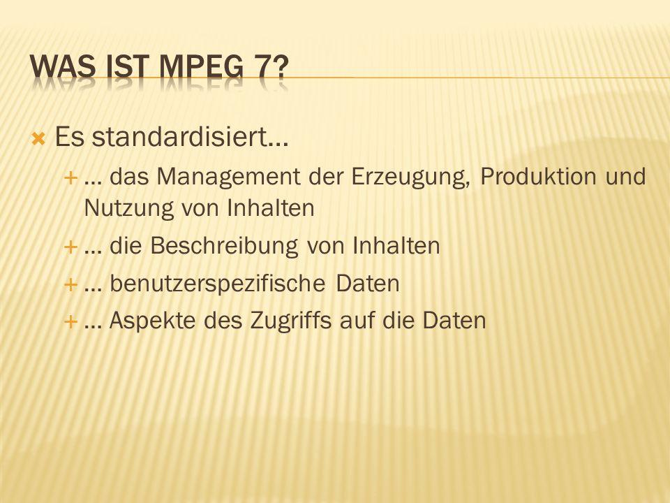 Hauptkomponenten sind… …MPEG 7 Descriptors …MPEG 7 Description Schemes …MPEG 7 Description Definition Language DDL