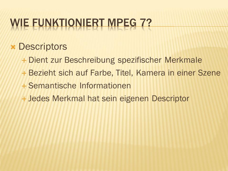 Weitere Basis Description Schemes MotionDescriptors FaceDescriptors