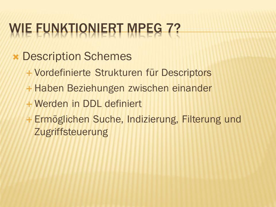 Description Schemes Vordefinierte Strukturen für Descriptors Haben Beziehungen zwischen einander Werden in DDL definiert Ermöglichen Suche, Indizierung, Filterung und Zugriffsteuerung