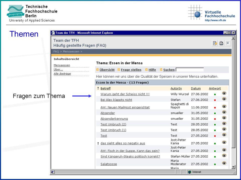 Technische Fachhochschule Berlin University of Applied Sciences Frage lesen Antwort mit Anlagen In den Fragen blättern E-Mail an Autorin Rückfrage