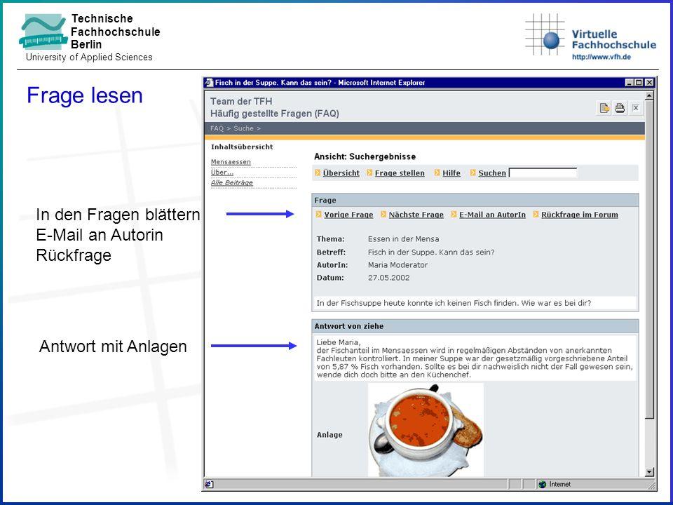 Technische Fachhochschule Berlin University of Applied Sciences Frage stellen Benachrichtigungswunsch Fragetext mit Anlagen Adressatenauswahl