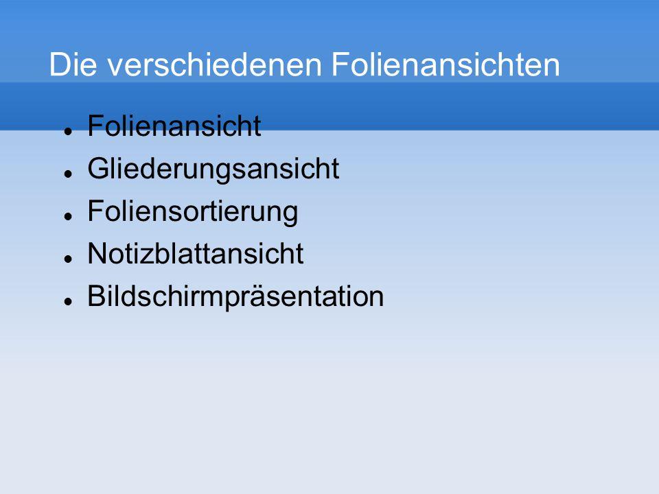 Die verschiedenen Folienansichten Folienansicht Gliederungsansicht Foliensortierung Notizblattansicht Bildschirmpräsentation