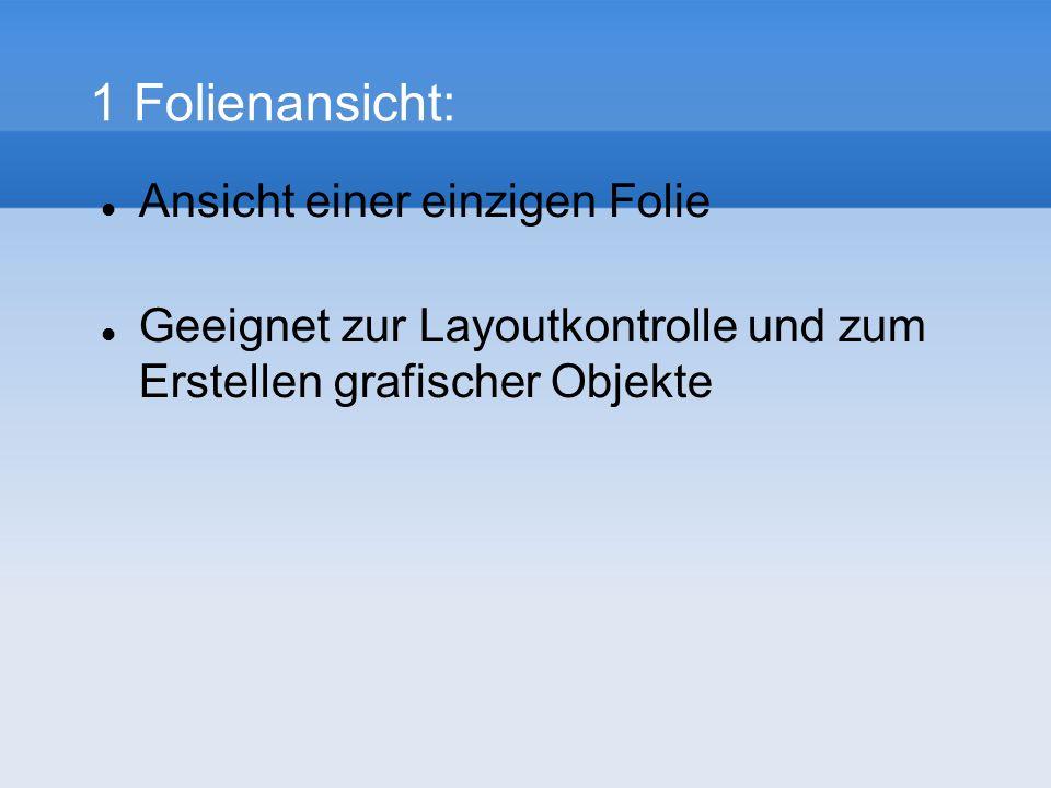 1 Folienansicht: Ansicht einer einzigen Folie Geeignet zur Layoutkontrolle und zum Erstellen grafischer Objekte
