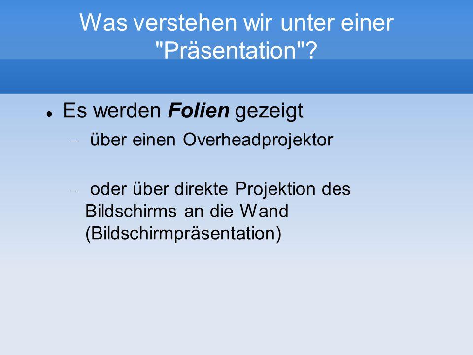 Eine Präsentation als Folienreihe Erste FolieZweite Folie Letzte Folie...