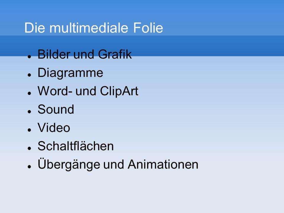 Die multimediale Folie Bilder und Grafik Diagramme Word- und ClipArt Sound Video Schaltflächen Übergänge und Animationen