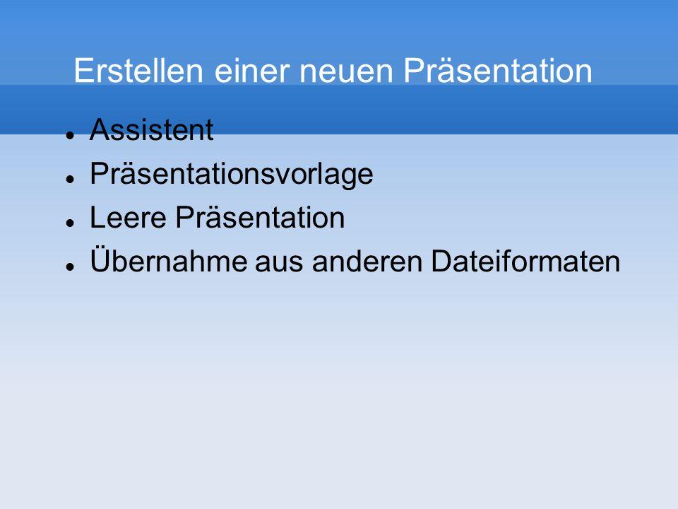 Erstellen einer neuen Präsentation Assistent Präsentationsvorlage Leere Präsentation Übernahme aus anderen Dateiformaten