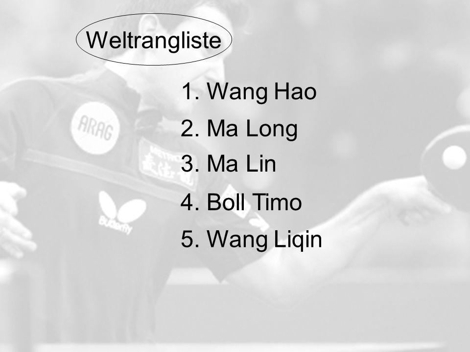 1. Wang Hao 2. Ma Long 3. Ma Lin 4. Boll Timo 5. Wang Liqin Weltrangliste