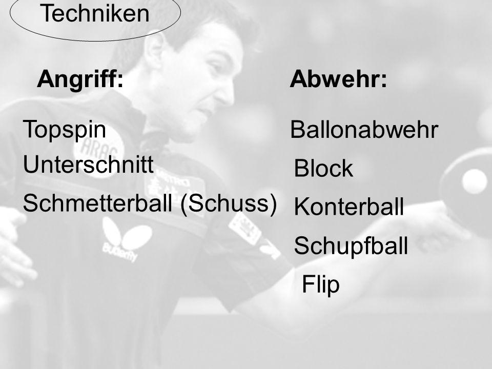 Techniken Abwehr:Angriff: Topspin Unterschnitt Schmetterball (Schuss) Flip Ballonabwehr Block Konterball Schupfball
