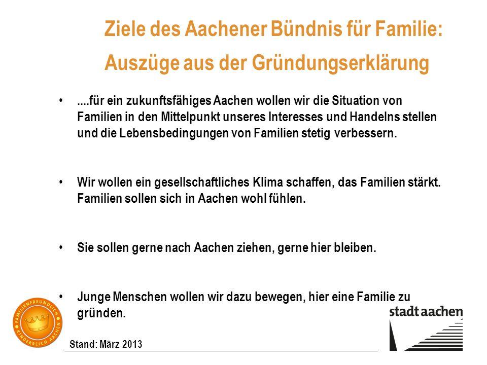 Stand: März 2013 Ziele des Aachener Bündnis für Familie: Auszüge aus der Gründungserklärung....für ein zukunftsfähiges Aachen wollen wir die Situation