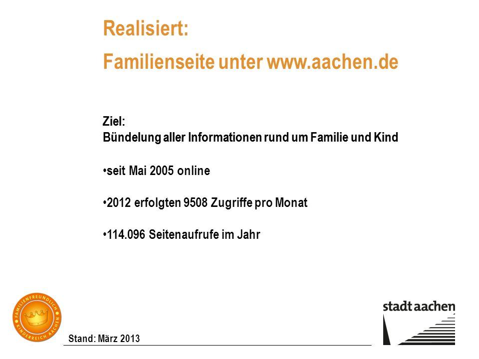 Stand: März 2013 Realisiert: Familienseite unter www.aachen.de Ziel: Bündelung aller Informationen rund um Familie und Kind seit Mai 2005 online 2012
