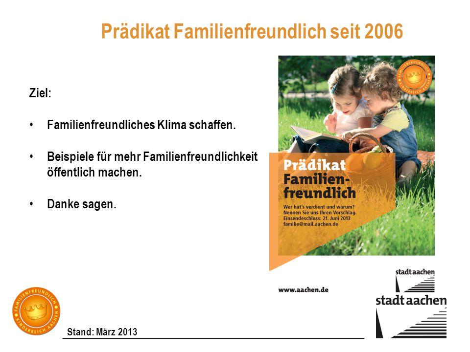 Stand: März 2013 Prädikat Familienfreundlich seit 2006 Ziel: Familienfreundliches Klima schaffen. Beispiele für mehr Familienfreundlichkeit öffentlich