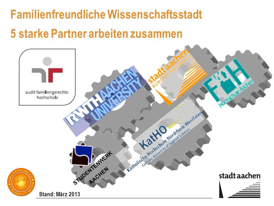Stand: März 2013 Familienfreundliche Wissenschaftsstadt 5 starke Partner arbeiten zusammen STUDENTENWERK AACHEN