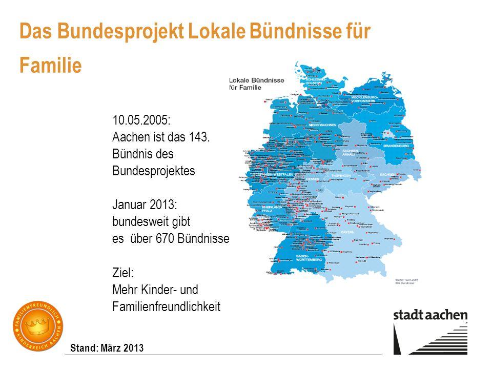 Stand: März 2013 Das Bundesprojekt Lokale Bündnisse für Familie 10.05.2005: Aachen ist das 143. Bündnis des Bundesprojektes Januar 2013: bundesweit gi