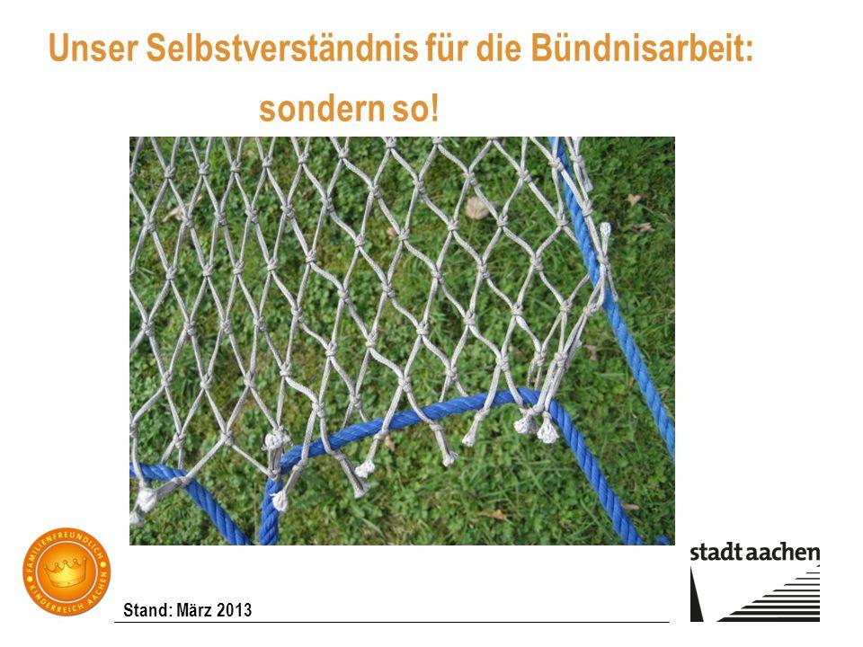 Stand: März 2013 Unser Selbstverständnis für die Bündnisarbeit: sondern so!