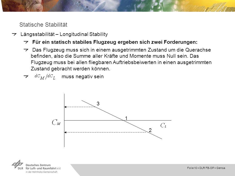 Folie 10 > DLR FB-OP > Gemsa Statische Stabilität Längsstabilität – Longitudinal Stability Für ein statisch stabiles Flugzeug ergeben sich zwei Forder