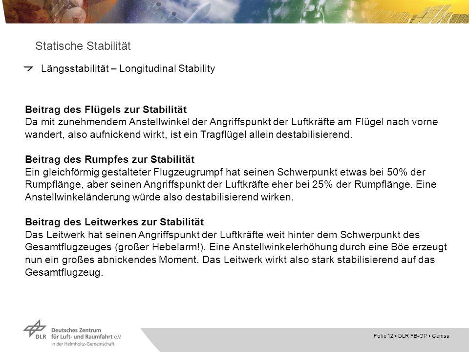 Folie 12 > DLR FB-OP > Gemsa Statische Stabilität Längsstabilität – Longitudinal Stability Beitrag des Flügels zur Stabilität Da mit zunehmendem Anste