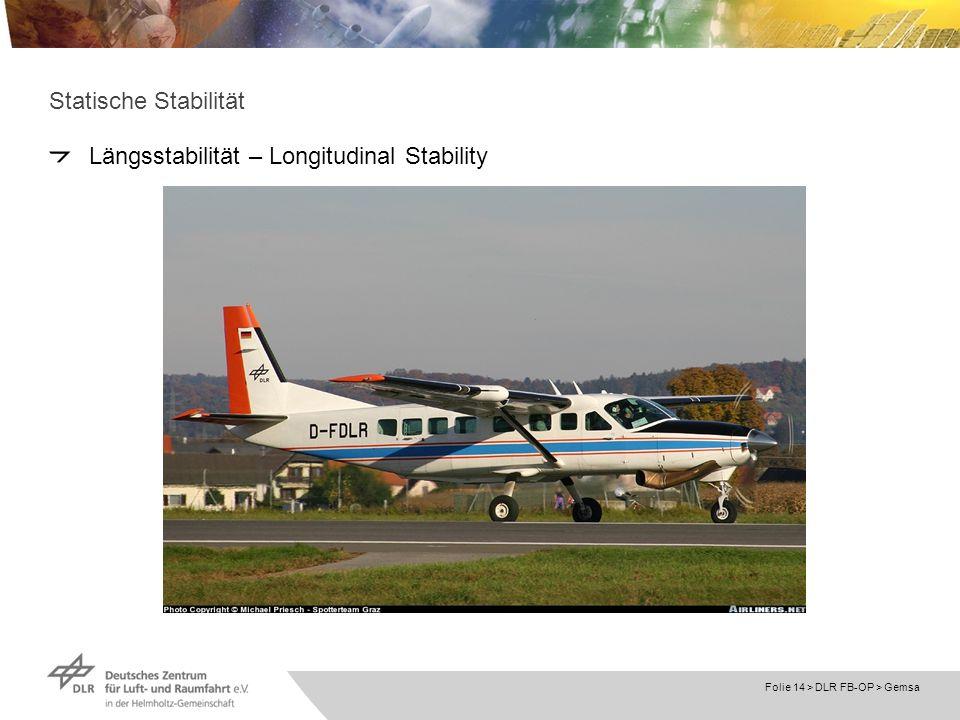 Folie 14 > DLR FB-OP > Gemsa Statische Stabilität Längsstabilität – Longitudinal Stability