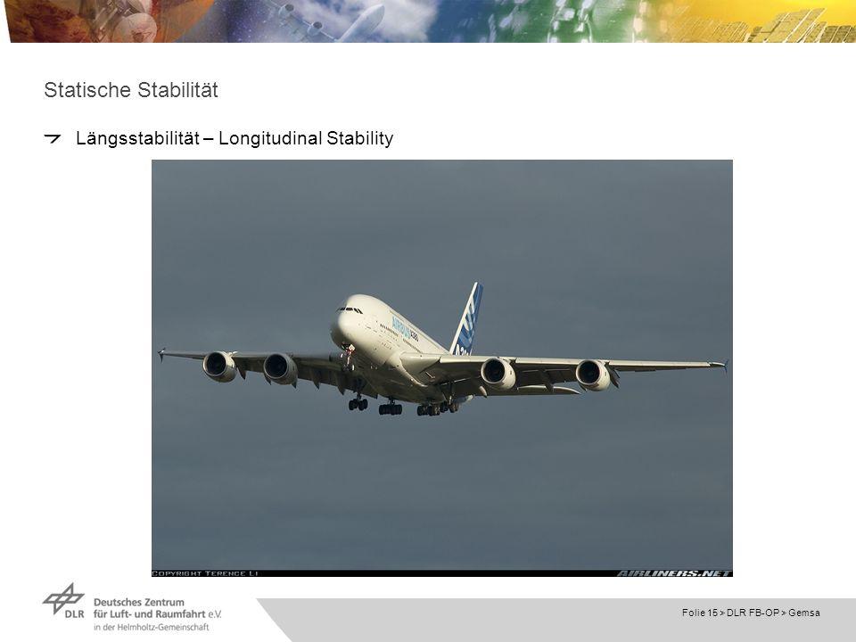 Folie 15 > DLR FB-OP > Gemsa Statische Stabilität Längsstabilität – Longitudinal Stability