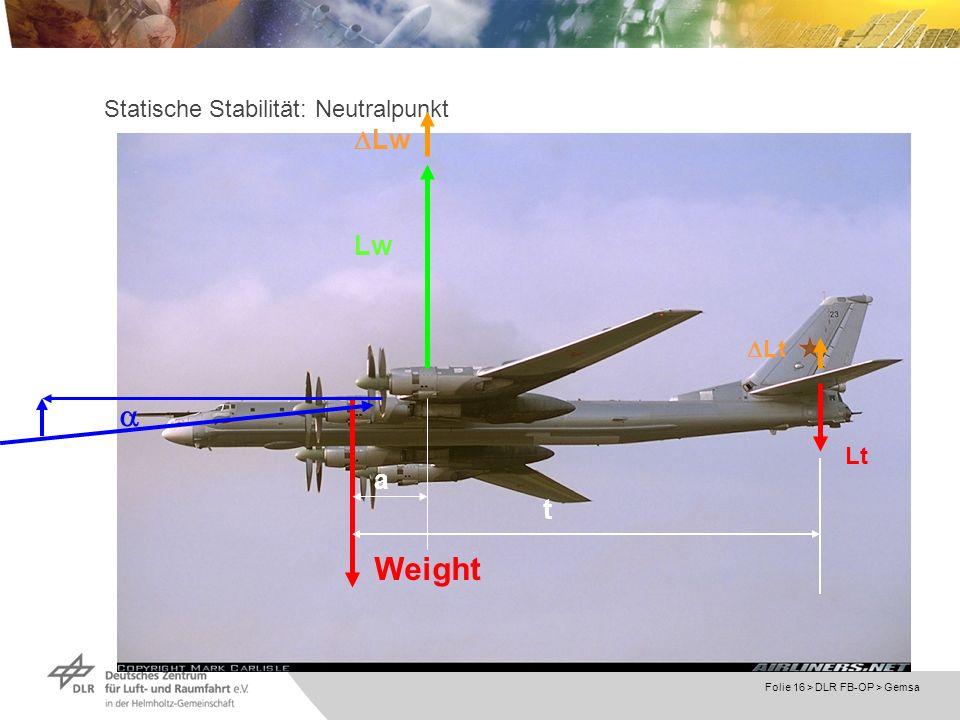 Folie 16 > DLR FB-OP > Gemsa Statische Stabilität: Neutralpunkt Lw Lt Weight Lw Lt a t