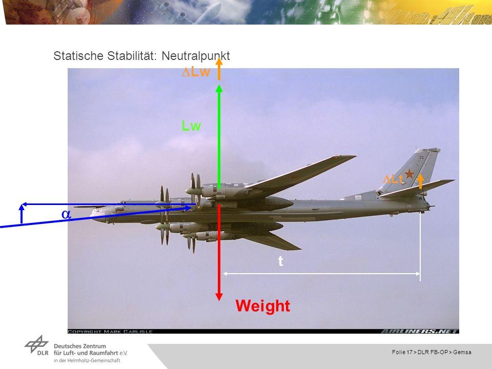 Folie 17 > DLR FB-OP > Gemsa Statische Stabilität: Neutralpunkt Lw Lt Weight Lw t