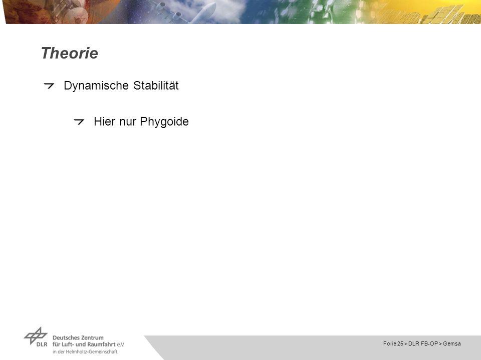 Folie 25 > DLR FB-OP > Gemsa Theorie Dynamische Stabilität Hier nur Phygoide