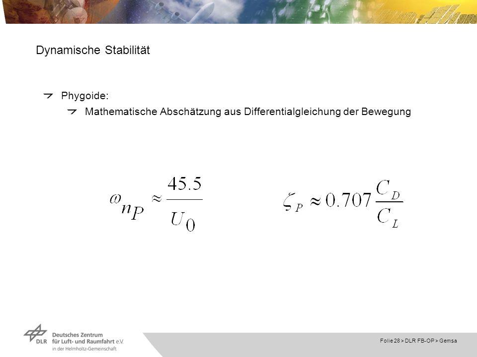 Folie 28 > DLR FB-OP > Gemsa Dynamische Stabilität Phygoide: Mathematische Abschätzung aus Differentialgleichung der Bewegung