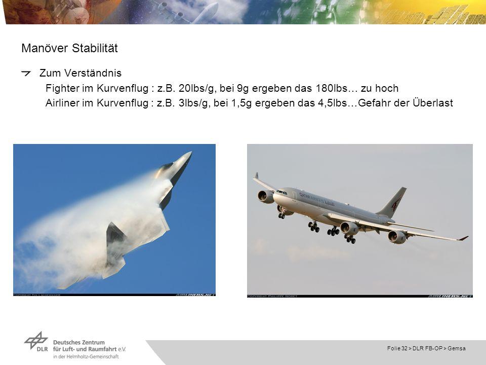 Folie 32 > DLR FB-OP > Gemsa Manöver Stabilität Zum Verständnis Fighter im Kurvenflug : z.B. 20lbs/g, bei 9g ergeben das 180lbs… zu hoch Airliner im K