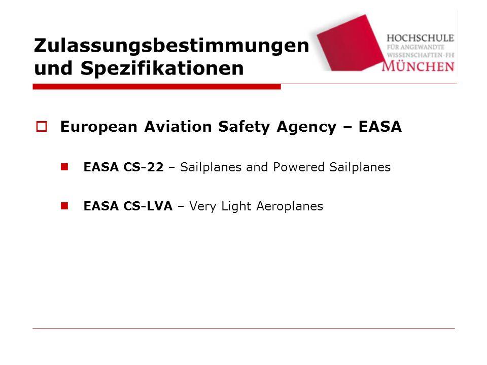 Zulassungsbestimmungen und Spezifikationen European Aviation Safety Agency – EASA EASA CS-22 – Sailplanes and Powered Sailplanes EASA CS-LVA – Very Light Aeroplanes
