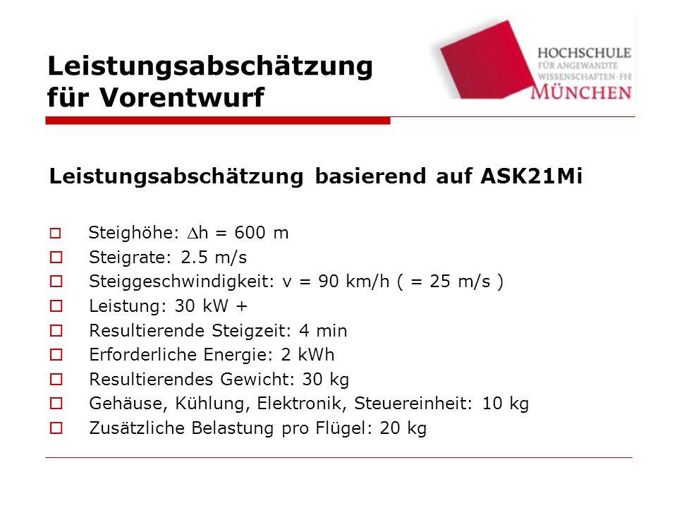 Leistungsabschätzung basierend auf ASK21Mi Steighöhe: h = 600 m Steigrate: 2.5 m/s Steiggeschwindigkeit: v = 90 km/h ( = 25 m/s ) Leistung: 30 kW + Resultierende Steigzeit: 4 min Erforderliche Energie: 2 kWh Resultierendes Gewicht: 30 kg Gehäuse, Kühlung, Elektronik, Steuereinheit: 10 kg Zusätzliche Belastung pro Flügel: 20 kg Leistungsabschätzung für Vorentwurf