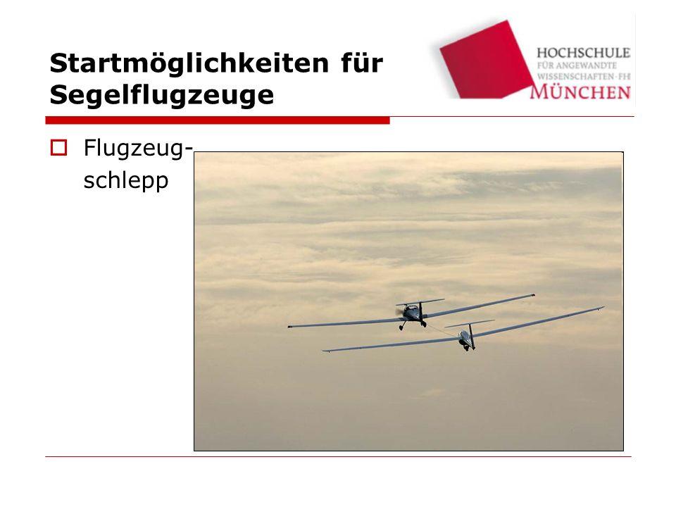 Startmöglichkeiten für Segelflugzeuge Flugzeug- schlepp