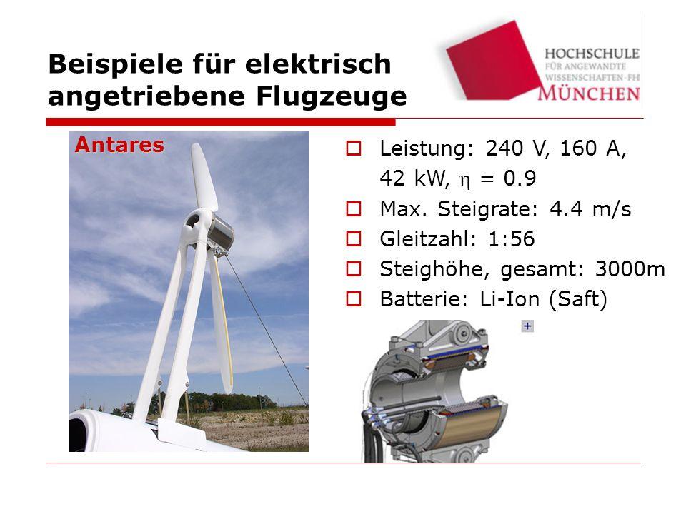 Energiequelle: Charged LiIon Leistung: 16 kW Electra One Beispiele für elektrisch angetriebene Flugzeuge