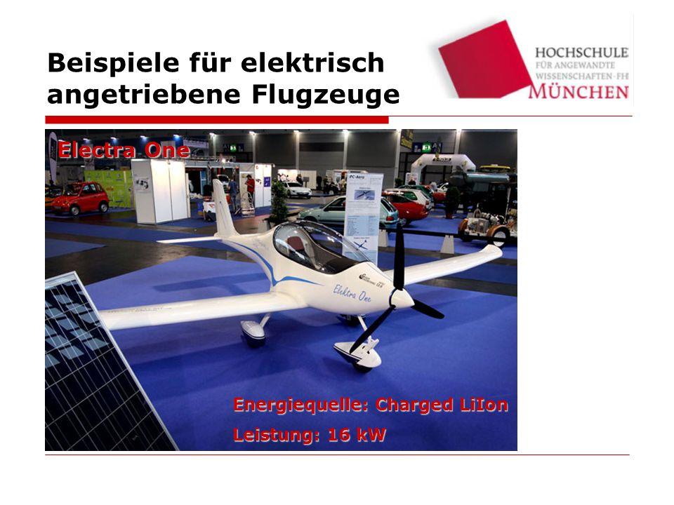 Energiequelle: Solar Leistung: 5.5 kW Sunseeker II Beispiele für elektrisch angetriebene Flugzeuge