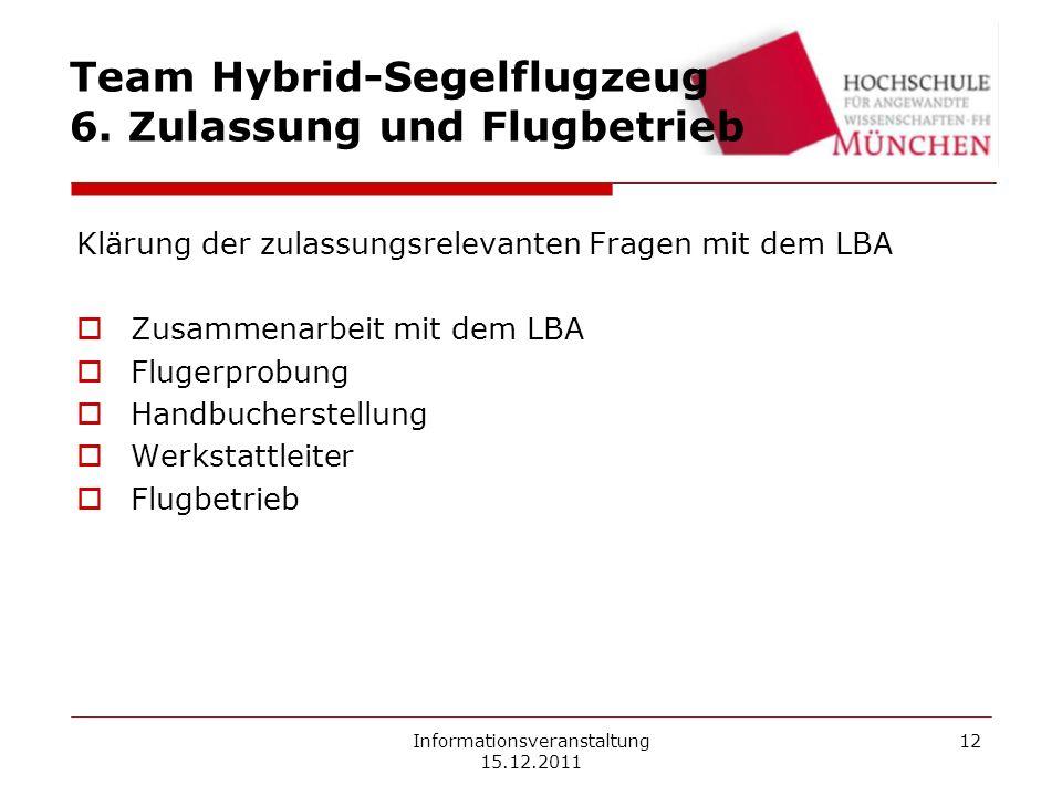Informationsveranstaltung 15.12.2011 12 Team Hybrid-Segelflugzeug 6. Zulassung und Flugbetrieb Klärung der zulassungsrelevanten Fragen mit dem LBA Zus