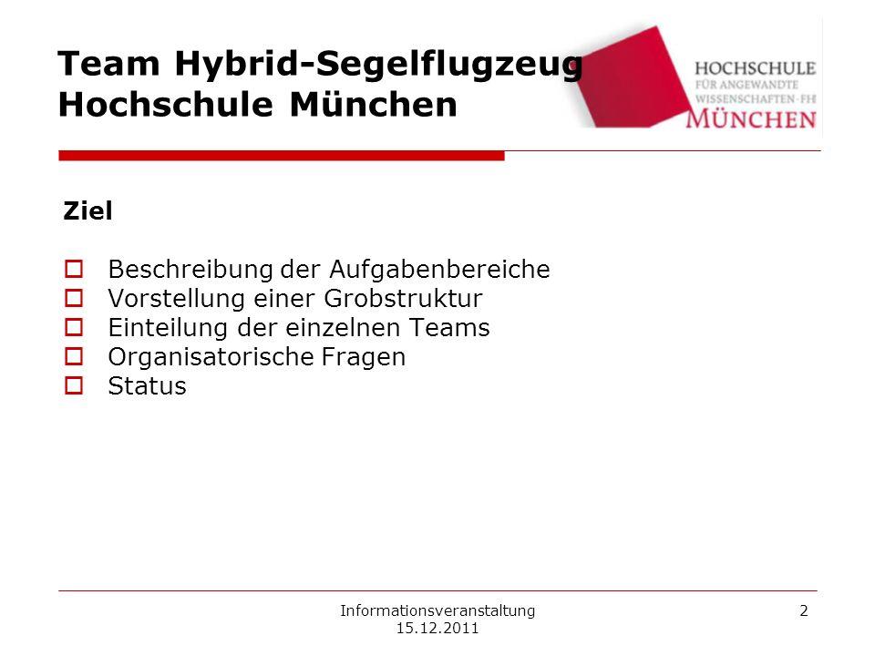 Informationsveranstaltung 15.12.2011 2 Ziel Beschreibung der Aufgabenbereiche Vorstellung einer Grobstruktur Einteilung der einzelnen Teams Organisato