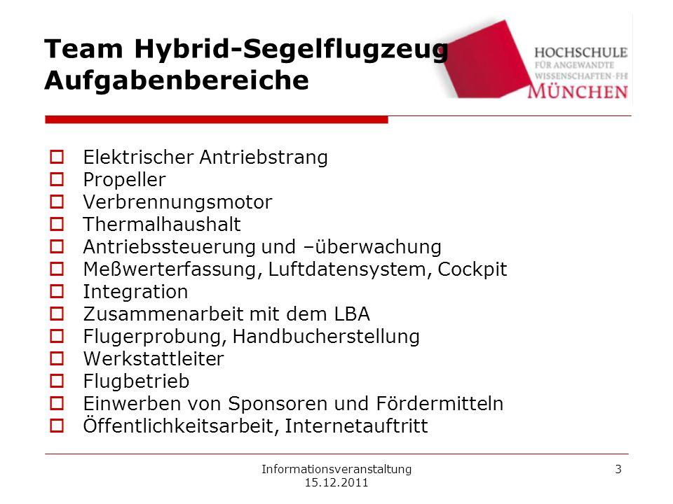 Informationsveranstaltung 15.12.2011 3 Team Hybrid-Segelflugzeug Aufgabenbereiche Elektrischer Antriebstrang Propeller Verbrennungsmotor Thermalhausha
