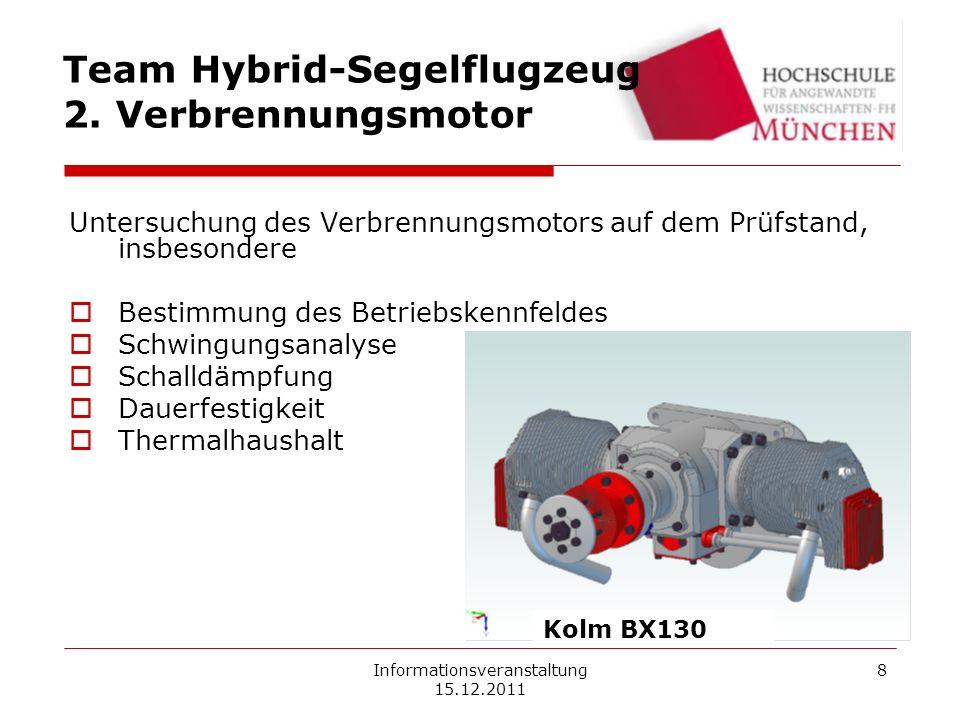 Informationsveranstaltung 15.12.2011 8 Team Hybrid-Segelflugzeug 2. Verbrennungsmotor Untersuchung des Verbrennungsmotors auf dem Prüfstand, insbesond