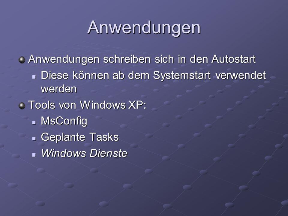Anwendungen Anwendungen schreiben sich in den Autostart Diese können ab dem Systemstart verwendet werden Diese können ab dem Systemstart verwendet werden Tools von Windows XP: MsConfig MsConfig Geplante Tasks Geplante Tasks Windows Dienste Windows Dienste