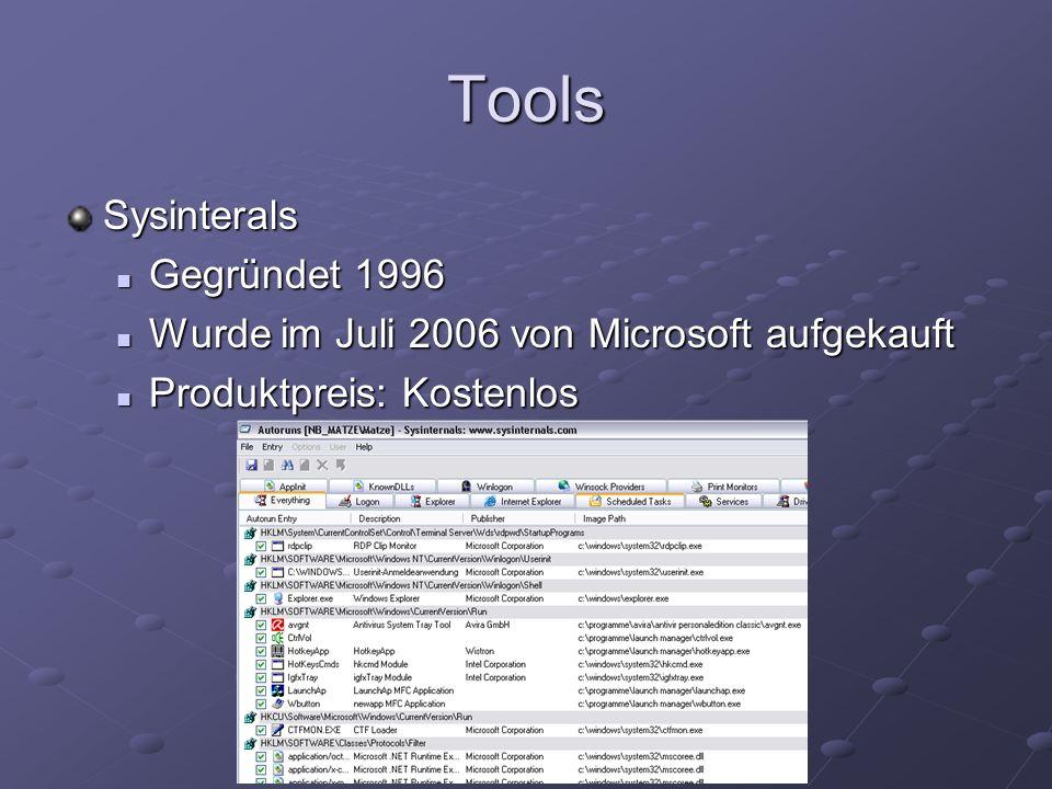 Tools Sysinterals Gegründet 1996 Gegründet 1996 Wurde im Juli 2006 von Microsoft aufgekauft Wurde im Juli 2006 von Microsoft aufgekauft Produktpreis: Kostenlos Produktpreis: Kostenlos