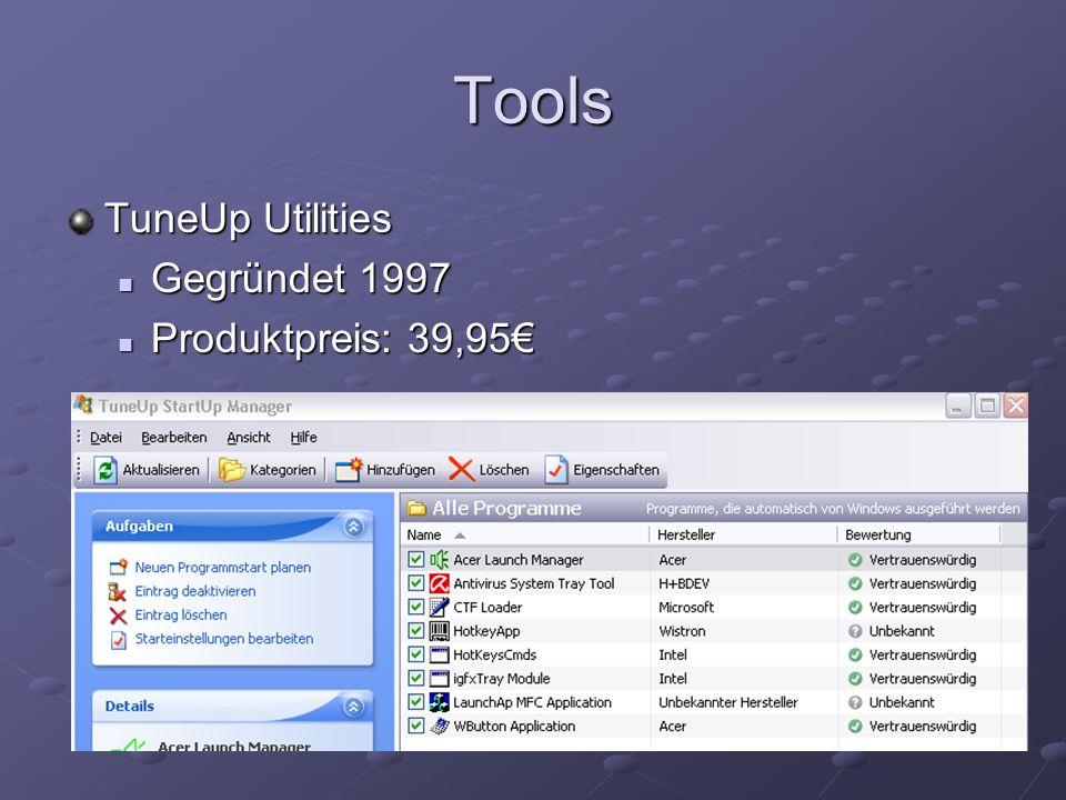 Tools TuneUp Utilities Gegründet 1997 Gegründet 1997 Produktpreis: 39,95 Produktpreis: 39,95