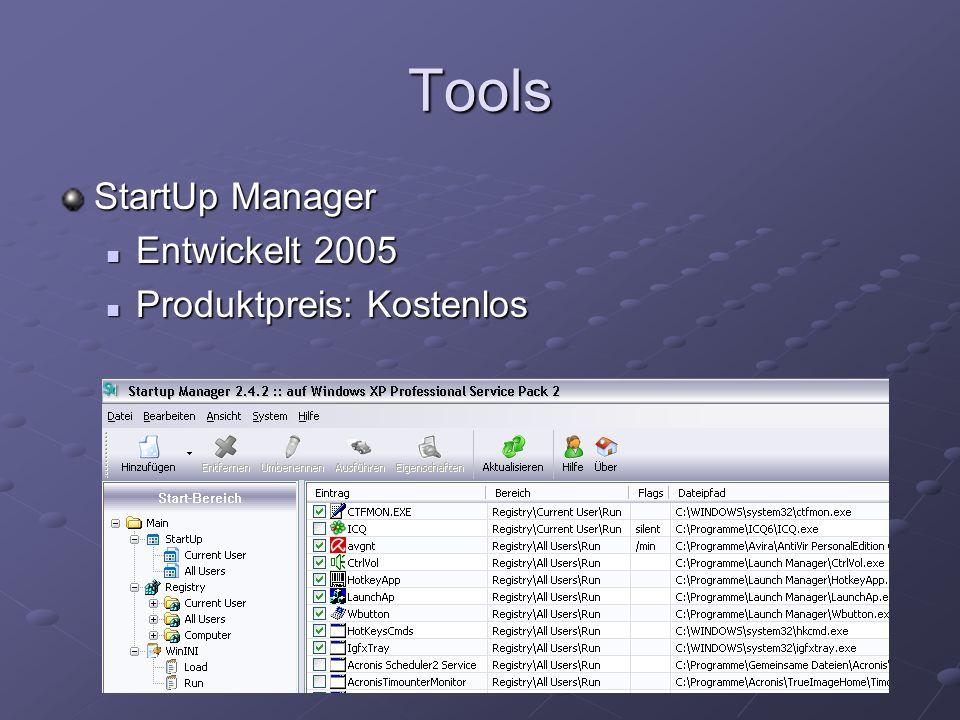 Tools StartUp Manager Entwickelt 2005 Entwickelt 2005 Produktpreis: Kostenlos Produktpreis: Kostenlos