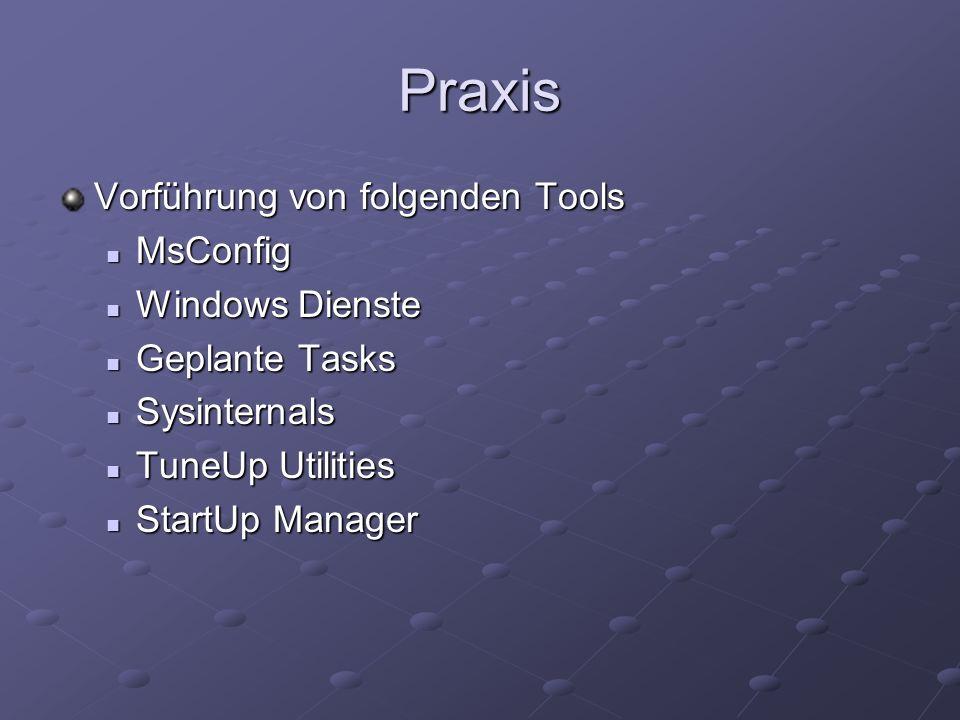 Praxis Vorführung von folgenden Tools MsConfig MsConfig Windows Dienste Windows Dienste Geplante Tasks Geplante Tasks Sysinternals Sysinternals TuneUp Utilities TuneUp Utilities StartUp Manager StartUp Manager