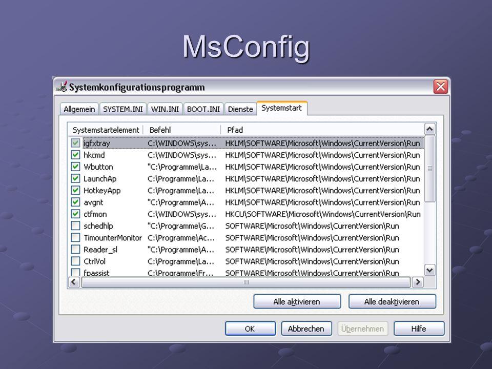 Windows Dienste Starten automatisch beim Hochfahren des Computers Programme die sich in die Registry eintragen Können auch modifiziert werden Normaler Benutzer benötigt nicht alle Dienste
