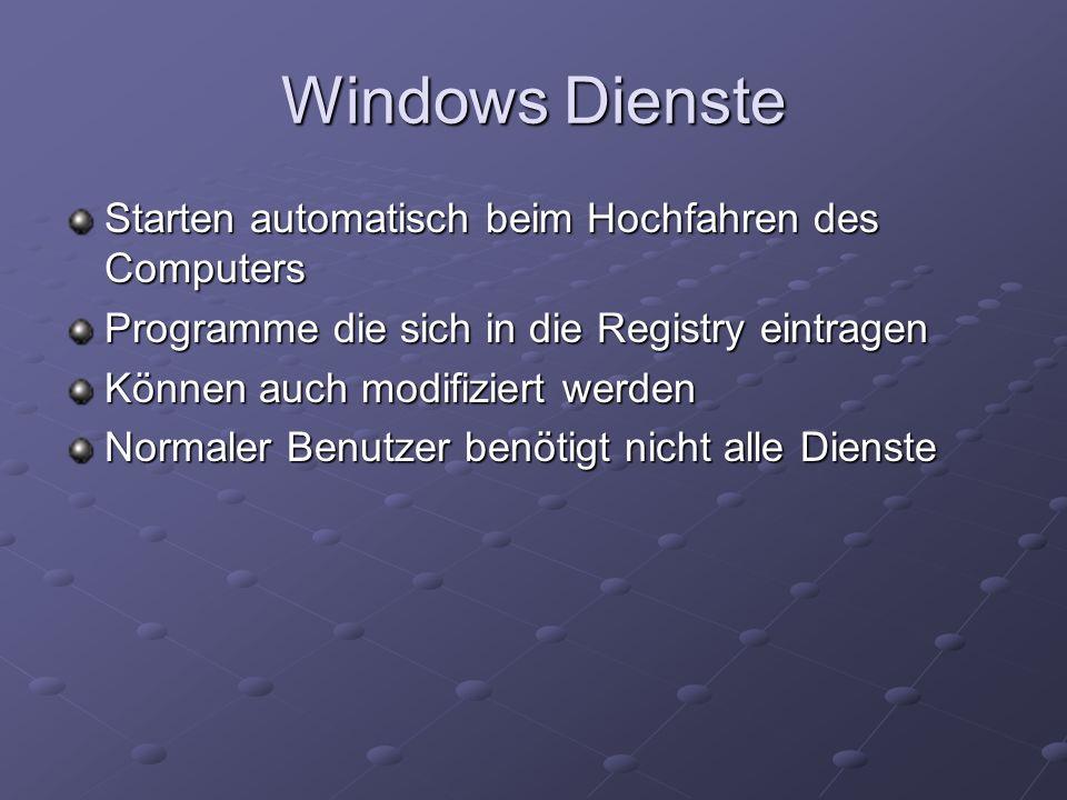 Windows Dienste Starten automatisch beim Hochfahren des Computers Programme die sich in die Registry eintragen Können auch modifiziert werden Normaler