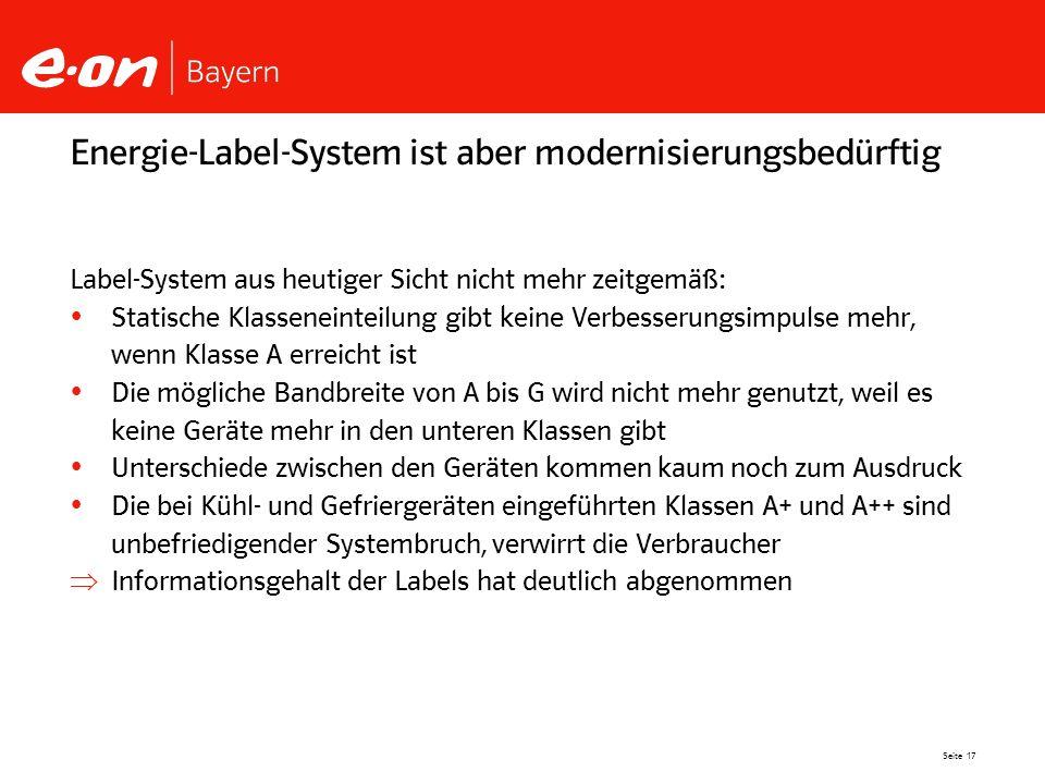 Seite 17 Energie-Label-System ist aber modernisierungsbedürftig Label-System aus heutiger Sicht nicht mehr zeitgemäß: Statische Klasseneinteilung gibt