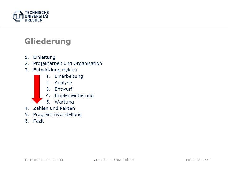 TU Dresden, 14.02.2014Gruppe 20 - ClowncollegeFolie 2 von XYZ Gliederung 1.Einleitung 2.Projektarbeit und Organisation 3.Entwicklungszyklus 1.Einarbei