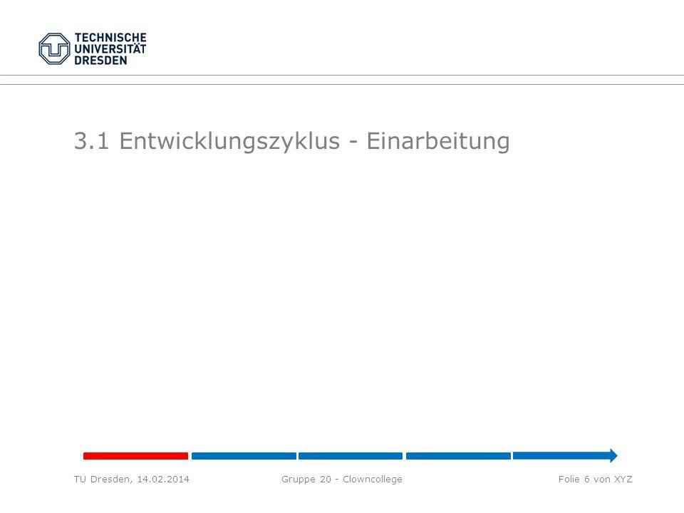 3.1 Entwicklungszyklus - Einarbeitung TU Dresden, 14.02.2014Gruppe 20 - ClowncollegeFolie 6 von XYZ