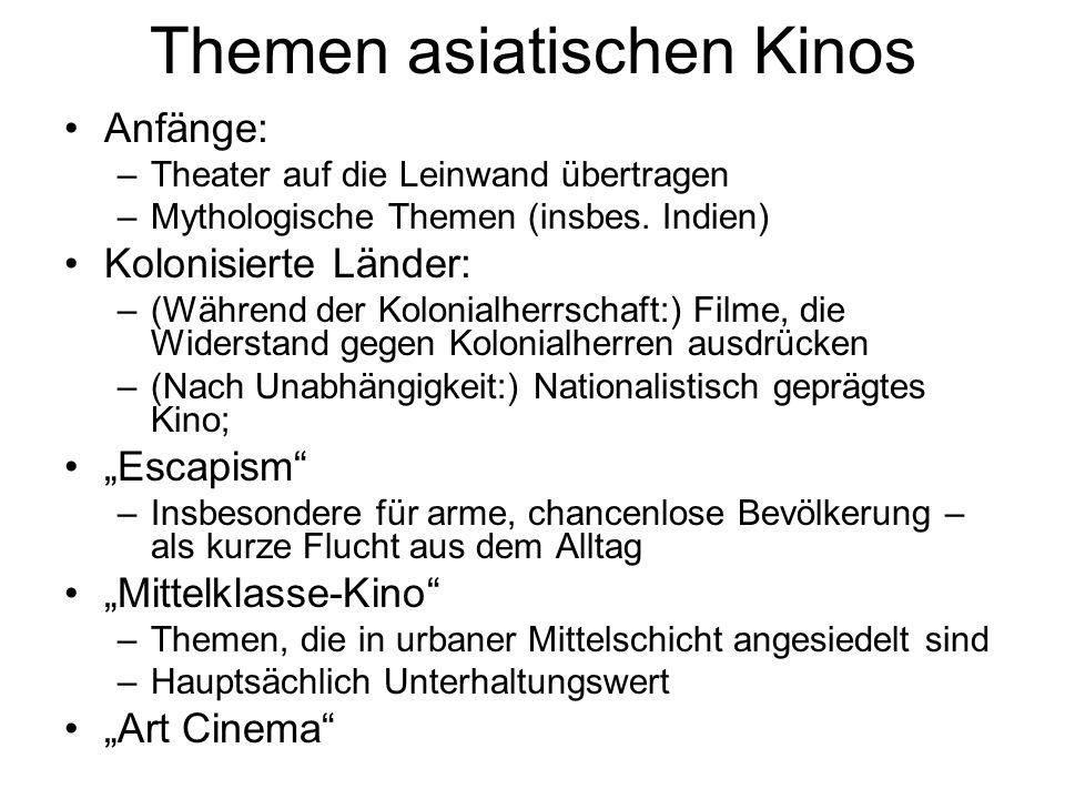 Themen asiatischen Kinos Anfänge: –Theater auf die Leinwand übertragen –Mythologische Themen (insbes.