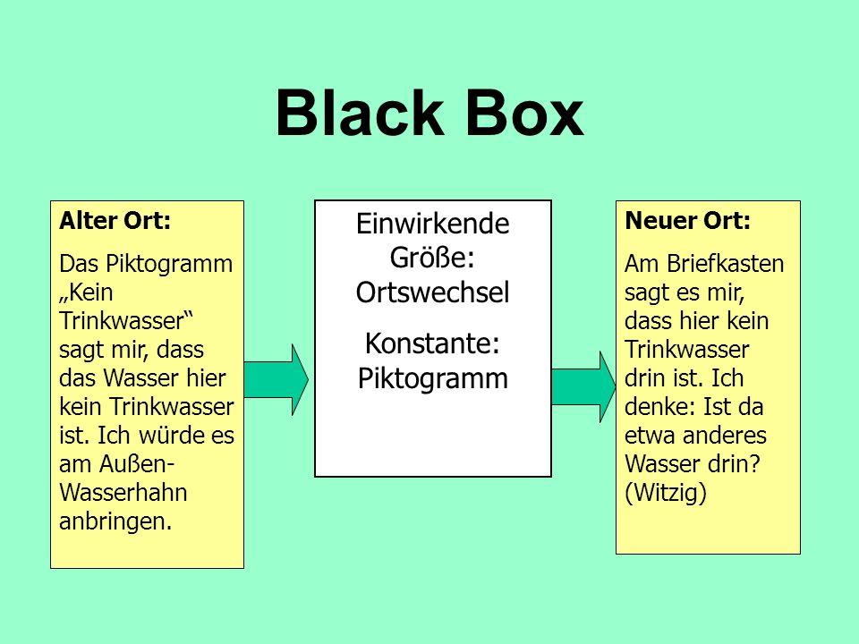 Black Box Alter Ort: Das Piktogramm Kein Trinkwasser sagt mir, dass das Wasser hier kein Trinkwasser ist.