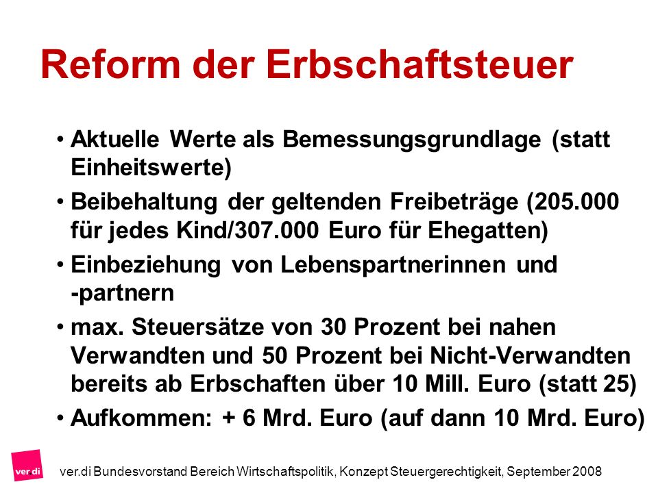 Reform der Erbschaftsteuer Aktuelle Werte als Bemessungsgrundlage (statt Einheitswerte) Beibehaltung der geltenden Freibeträge (205.000 für jedes Kind
