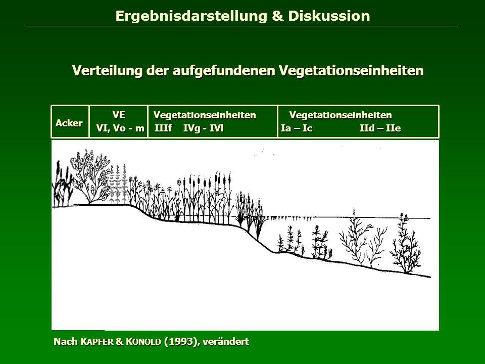 Ergebnisdarstellung & Diskussion Verteilung der aufgefundenen Vegetationseinheiten Nach K APFER & K ONOLD (1993), verändert Vegetationseinheiten Ia –
